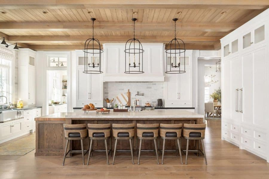 Wood Or Shiplap Ceiling Modern Farmhouse Kitchen Luccadesign