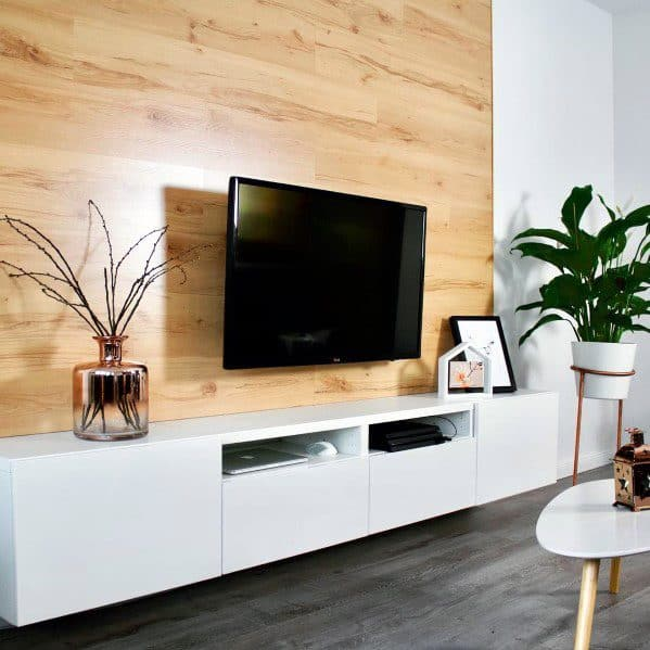 Wood Panel Television Walls Interior Ideas With White Stand