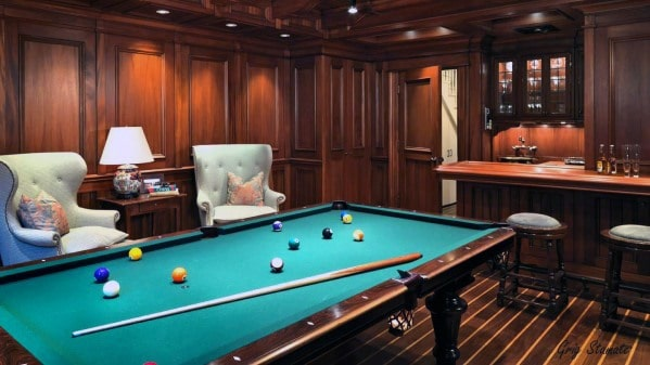 Wood Panel Walls Billiards Room Ideas