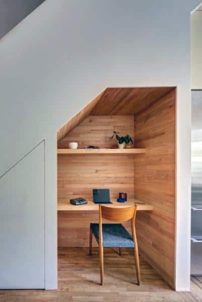 Wood Panel Walls Desk Ideas For Under Stairs