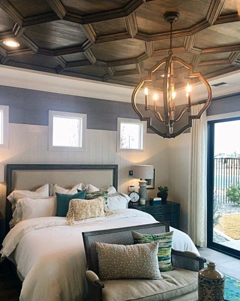 Wood Pattern Bedroom Coffered Ceiling Interior Ideas
