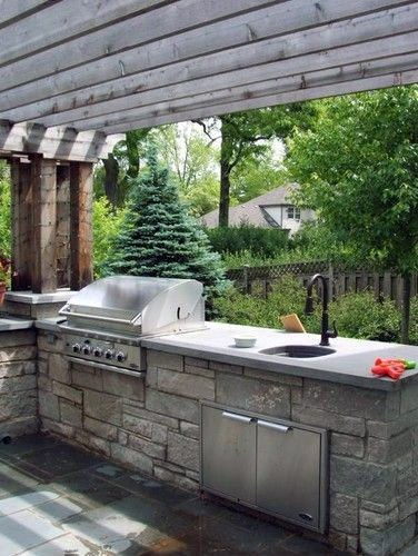Wood Pergola Covered Luxury Built In Grill