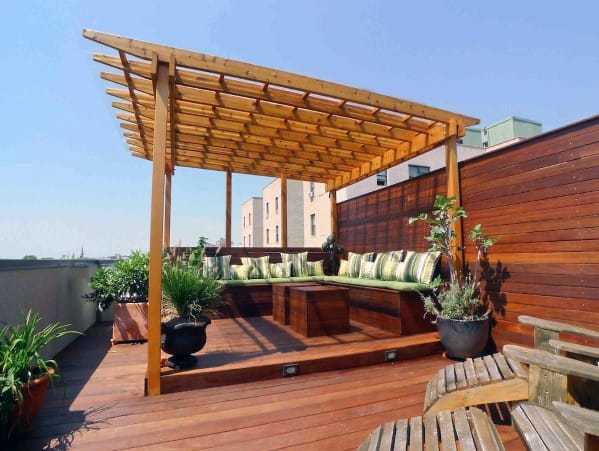 Wood Pergola Deck Roof Backyard Ideas