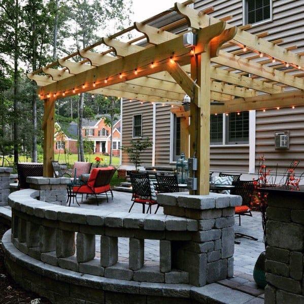 Wood Pergola Home Design Ideas Paver Patio
