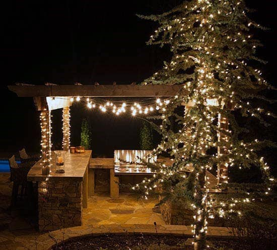Wood Pergola Home Patio String Light Ideas