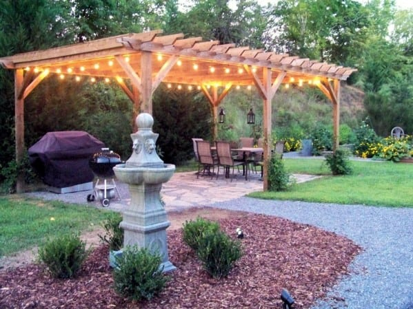 Wood Pergola Patio String Light Backyard Design