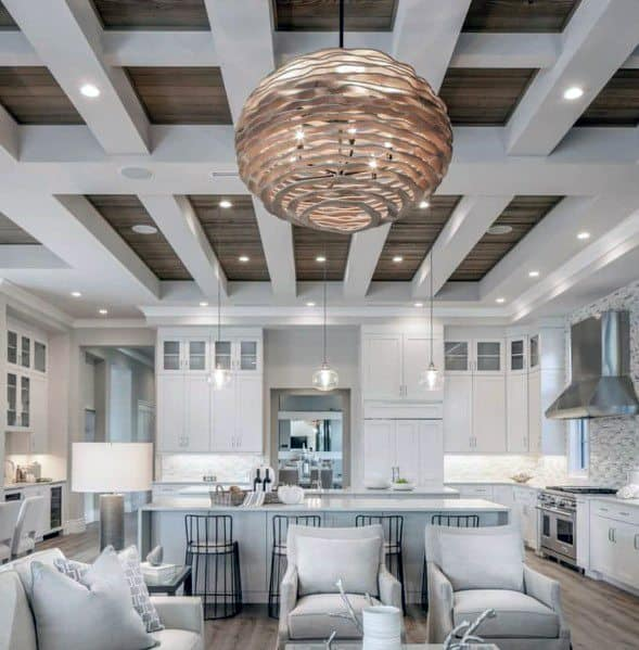 Wood Plank With White Beams Contemporary Coffered Ceiling Ideas