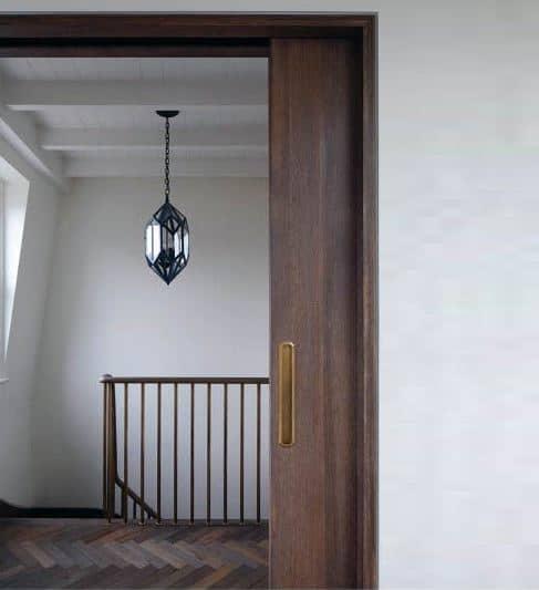 Wood Pocket Door Home Ideas With Brass Handle