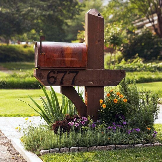 Wood Post Mailbox Landscaping Design Ideas