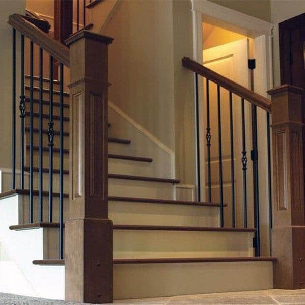 Wood Posts With Metal Balusters Design Ideas Stair Railing