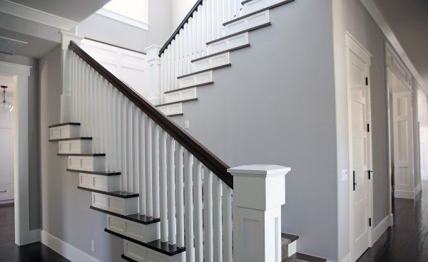 Wood Railing With White Ballisters Staircase Ideas
