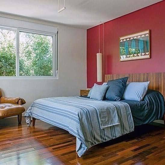 Wood Retro Red Bedroom Ideas