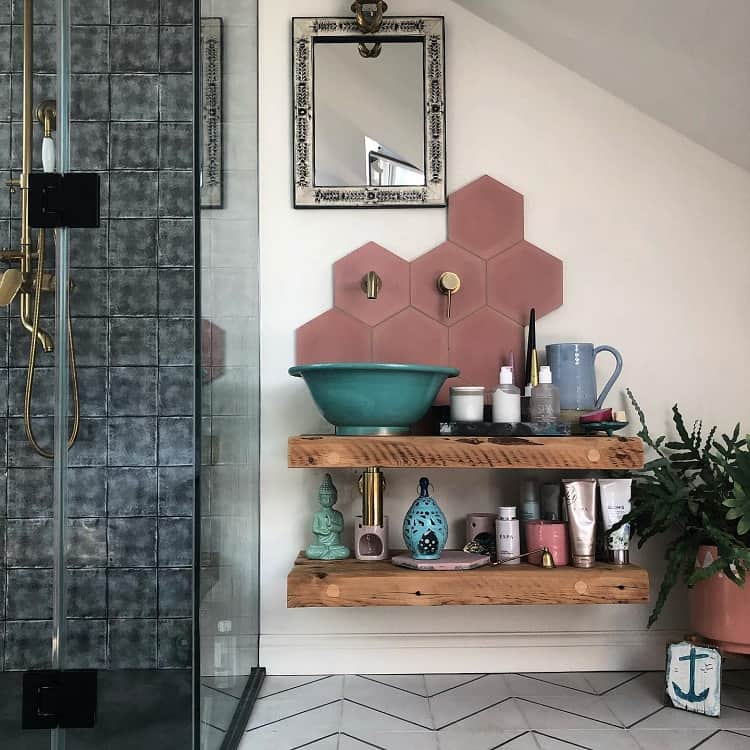 Wood Shelan Morrocan Sink Shelf Meganaceinteriors
