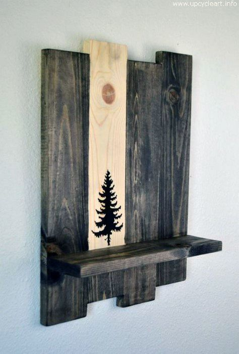 Wood Shelf With Stained Design Cheap Man Cave Ideas