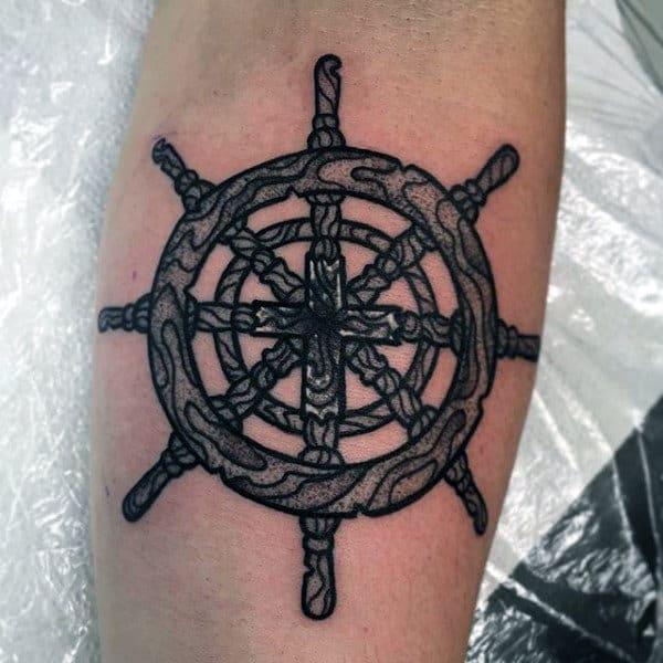 Wood Ship Steering Wheel Small Nautical Tattoos For Guys