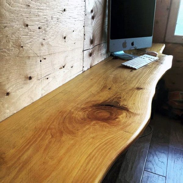 Wood Slab Wall Small Home Office Ideas Desk