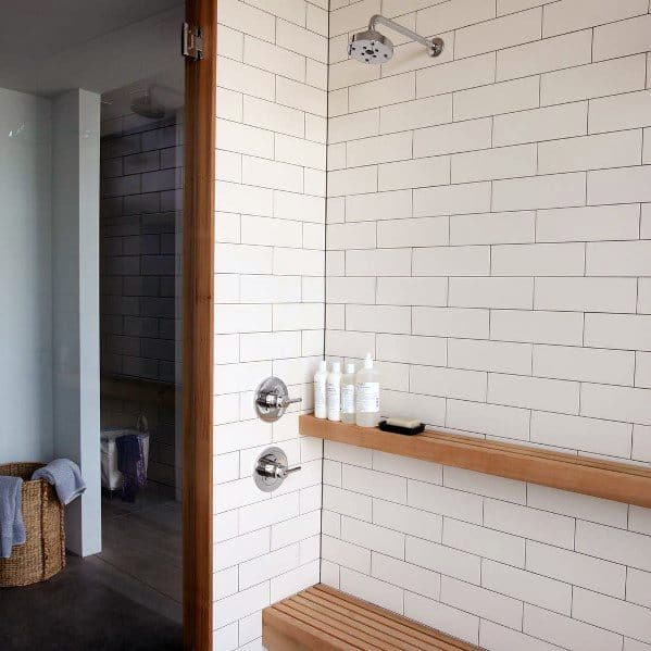 Wood Slat Teak Exceptional Shower Bench Ideas