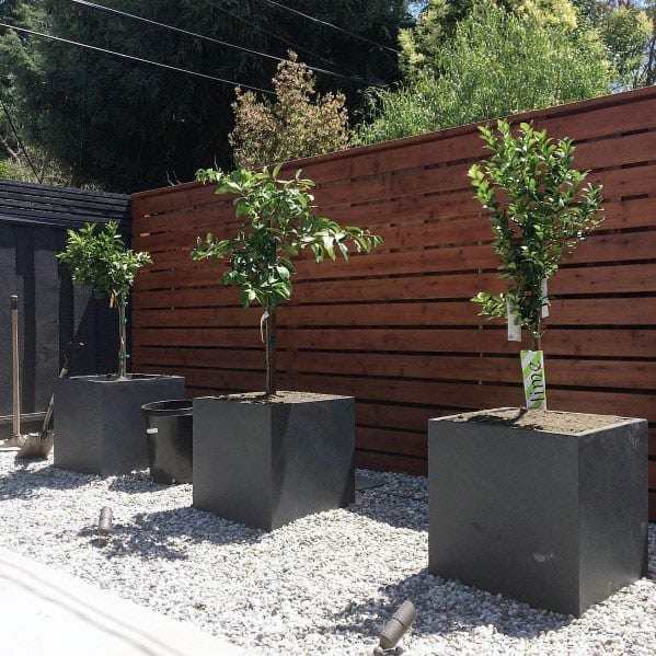 Wood Stained Modern Fence Exterior Ideas