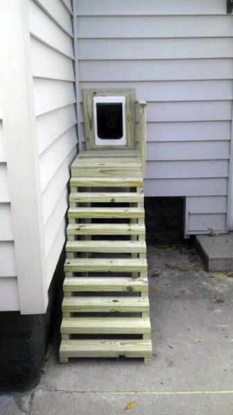 Wood Staircase From House Doggy Door Ideas