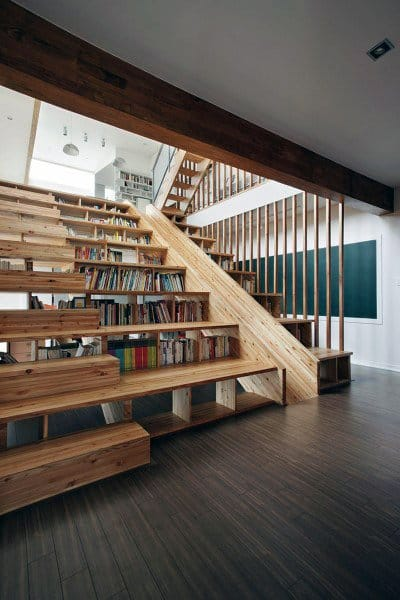 Wood Staircase Slide Ideas With Built In Bookcase