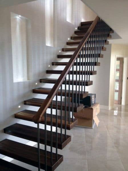Wood Stairs Interior Ideas With Floating Steps
