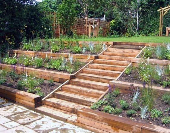 Wood Stairs Slope Landscaping Home Ideas