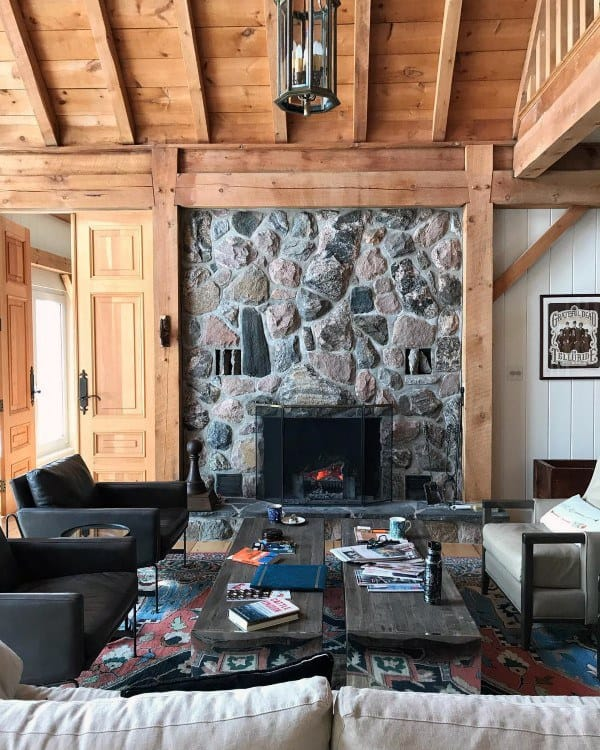 Top 70 Best Stone Fireplace Design Ideas - Rustic Rock Interiors