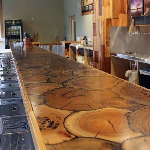 Wood Stump Epoxy Rustic Home Bar Top Ideas