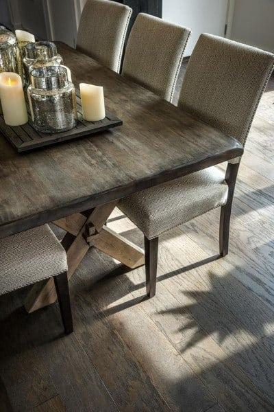 Wood Table And Vintage Flooring Rustic Dining Room Ideas