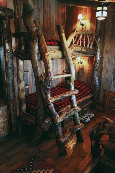 Wood Tree Branch Bunk Bed Ideas