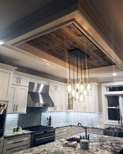 Wood Trey Ceiling Awesome Kitchen Design Ideas