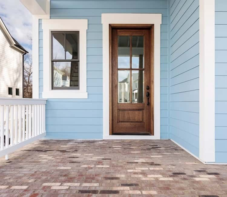 Wood Trim Window With Light Blue Exterior