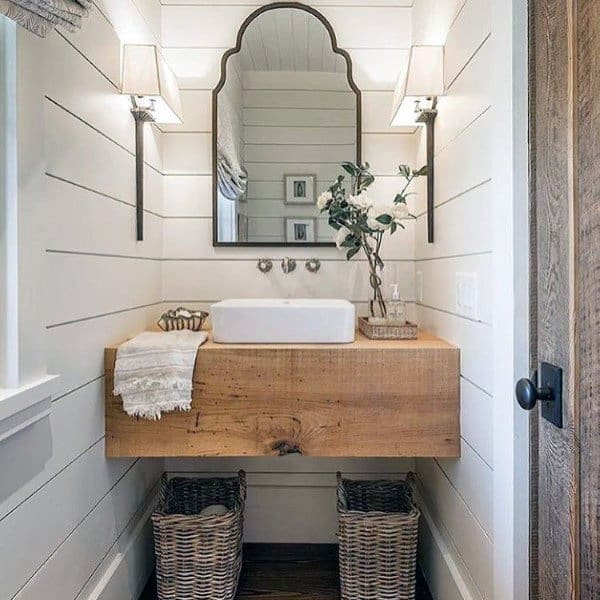 Wood Vanity Shiplap Walls Rustic Half Bath Ideas