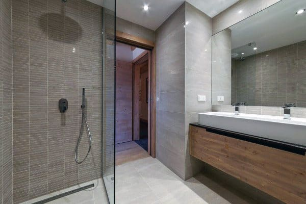 Wood Vanity With Double Sink And Walk In Shower Cool Bathrooms Ideas