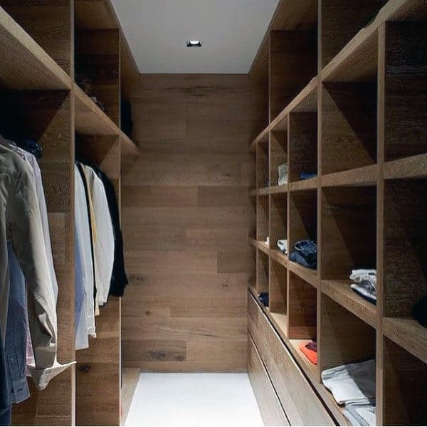 Wood Wall And Cabinet Mens Closet Design