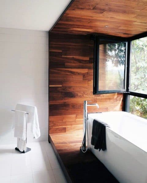 Wood Wall Design Around Bathtub