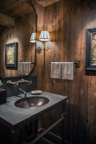 Wood Wall Paneling Rustic Bathroom Ideas