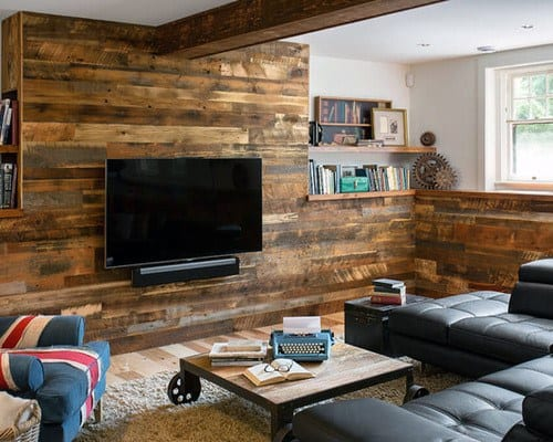 Wood Walls Small Basement Man Cave