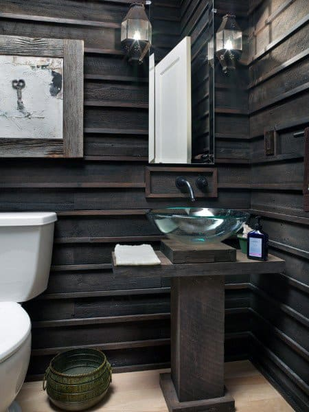 Wood Walls Small Half Bath Ideas