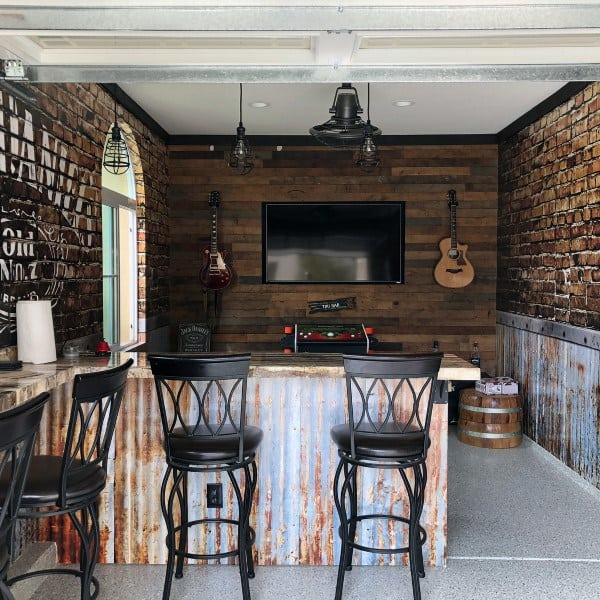 Wood Walls With Bar Stools Garage Bar