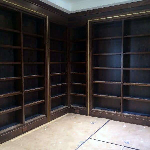 Wood With Brass Insert Luxury Floor To Ceiling Bookshelves Ideas