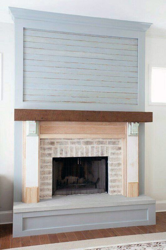 Wood With Brick Fireplace Mantel Design