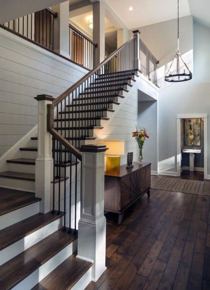 Wood With Metal Balusters Contemporary Stair Railing With Shiplap Walls