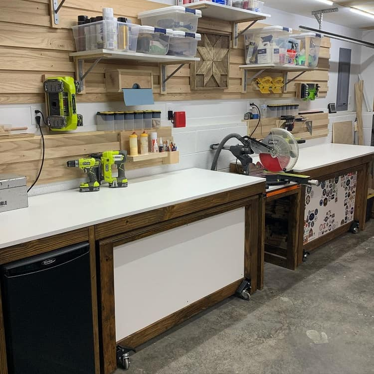 Wood Work Garage Workbench Shelving Whitewoodcompany
