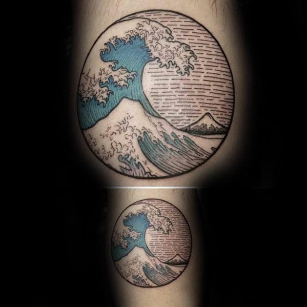 Woodcut Detailed Male Japanese Great Wave Off Kangawa Circle Tattoo On Inner Arm