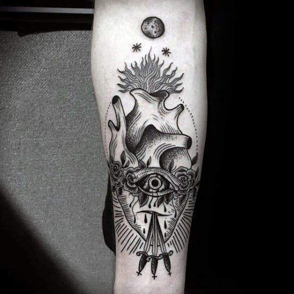 Woodcut Guys Creative Inner Forearm Tattoo Of Sacred Heart