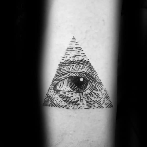 Woodcut Guys Eye Of Providence Triangle Small Forearm Tattoo
