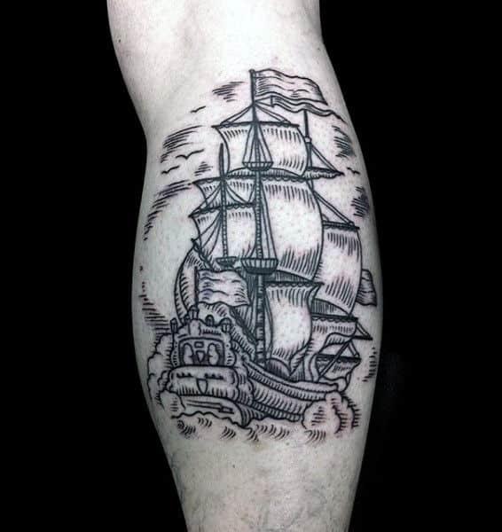 Woodcut Guys Nautical Leg Calf Ship Tattoo