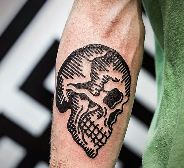 Woodcut Guys Traditional Inner Forearm Black Ink Skull Tattoos