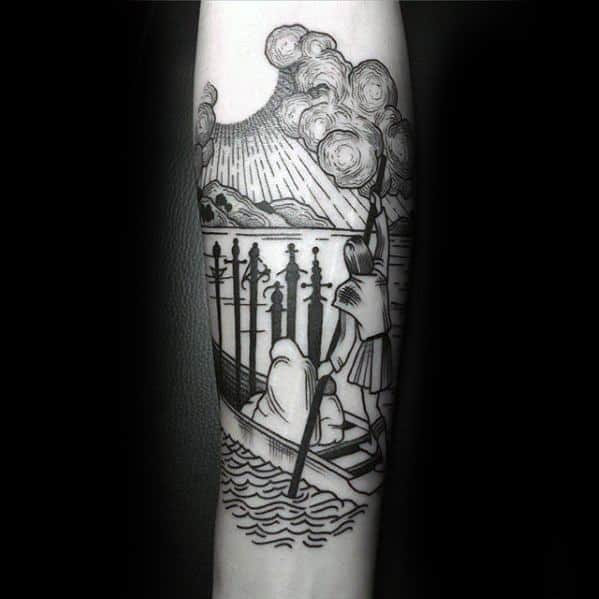 Woodcut Inner Forearm Gentleman With Tarot Tattoo